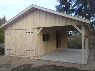 Garage En Carport : Holzgarage mit carport 6m x 6m satteldach fertiggarage carport anbau